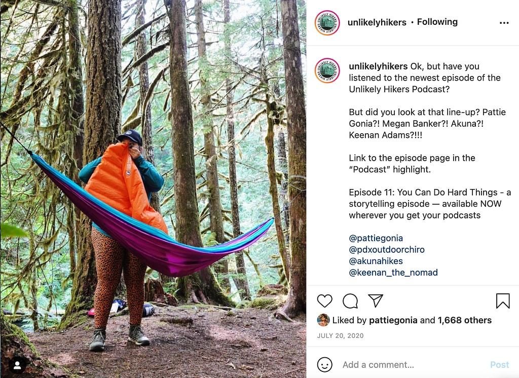 screenshot of @unlikelyhikers on Instagram