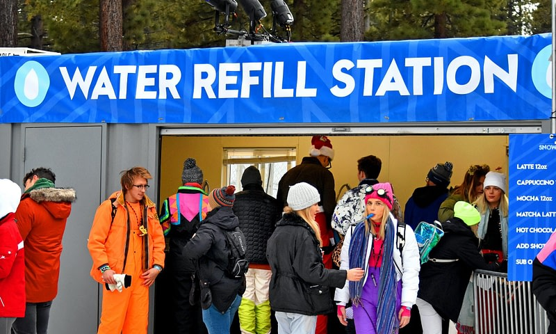 water refill station at a festival