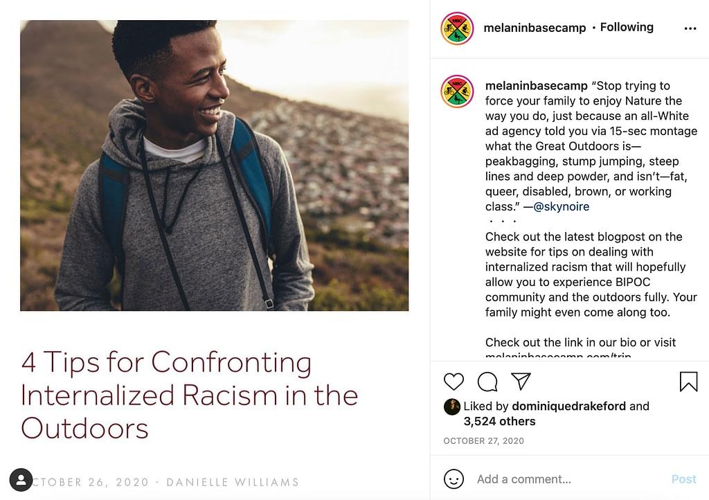 screenshot of @melaninbasecamp on Instagram