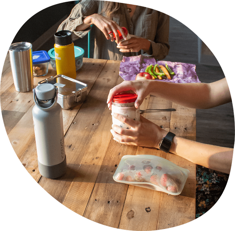 reusable food containers on table