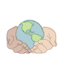 illustration of earth being held in hands