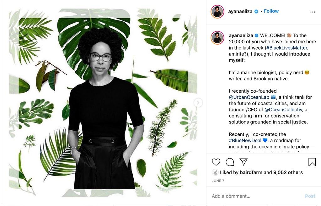 screenshot of ayanaeliza post on instagram