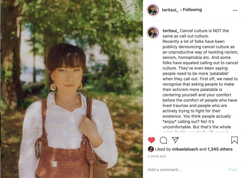 screenshot of toritsui_ post on instagram
