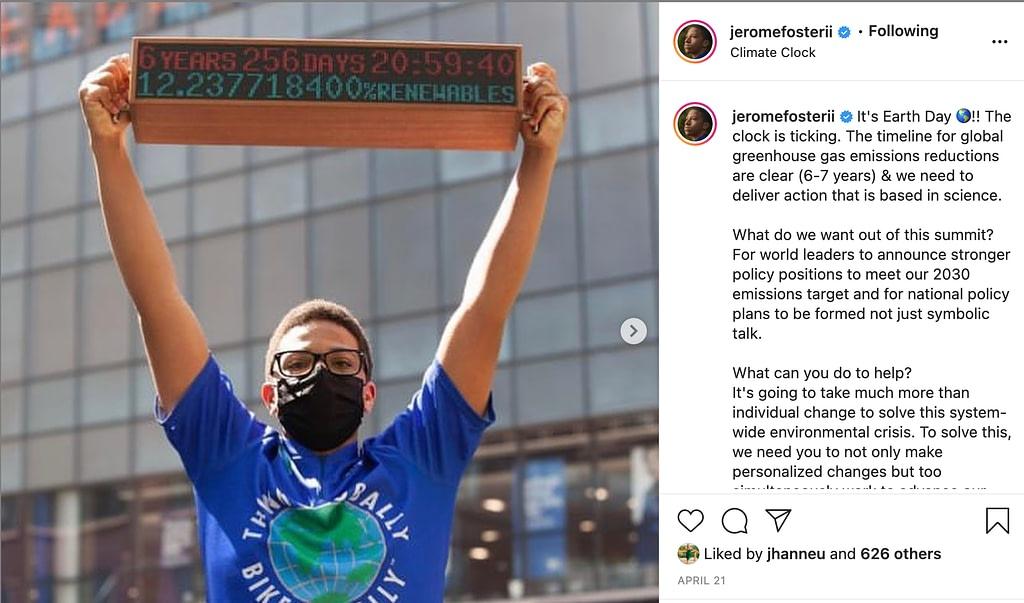 screenshot of @jeromefosterii on Instagram