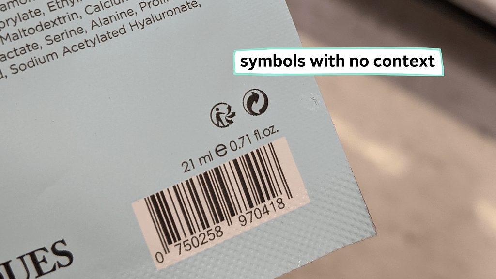 packaging with symbols that have no context