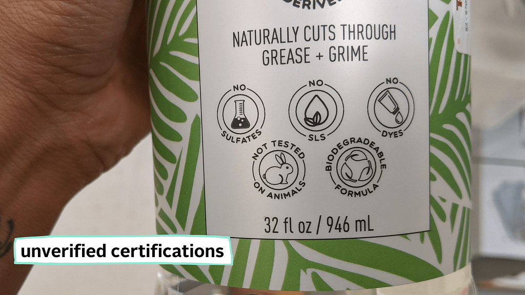 packaging with unverified claims