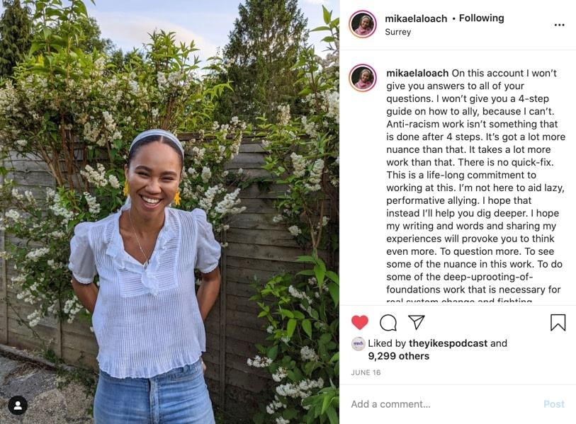 screenshot of mikealaloach post on instagram