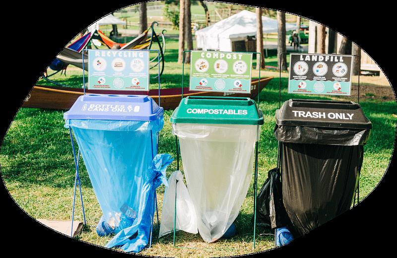 waste bins at festival