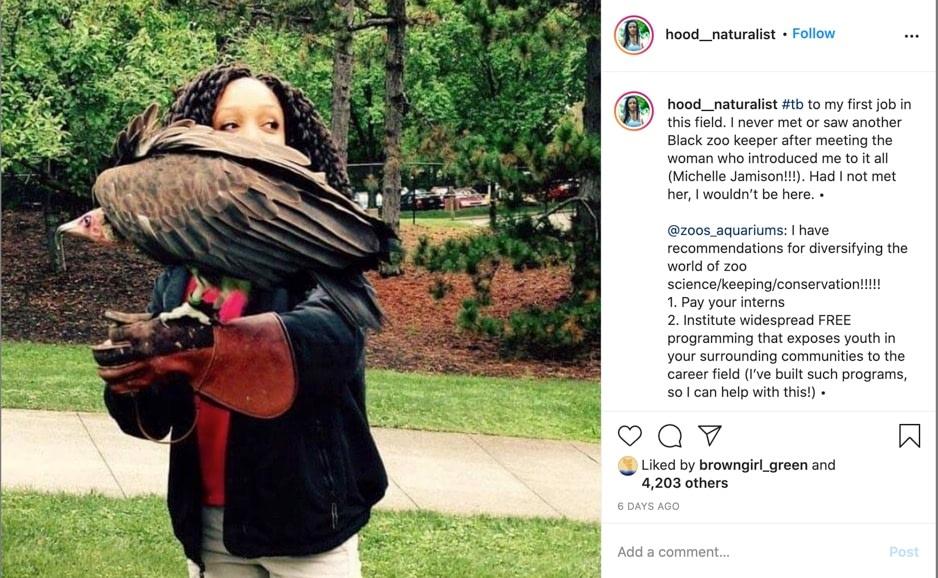 screenshot of hood_naturalist post on instagram