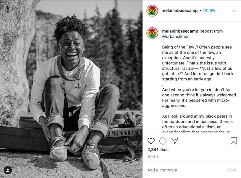 screenshot of melaninbasecamp post on instagram